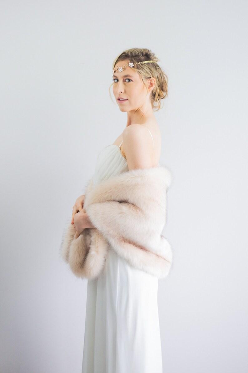 Blush / Beige / Nude Faux fur bridal wrap shawl stole cape