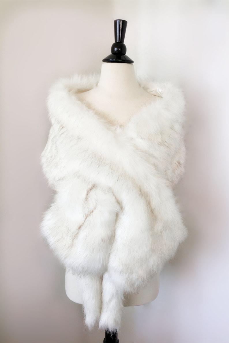 Ivory with black tips faux fur bridal wrap Wedding Fur shrug image 0