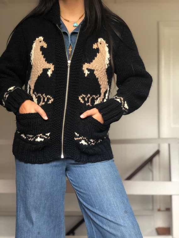 Vintage 60's Horse Cowichan Sweater