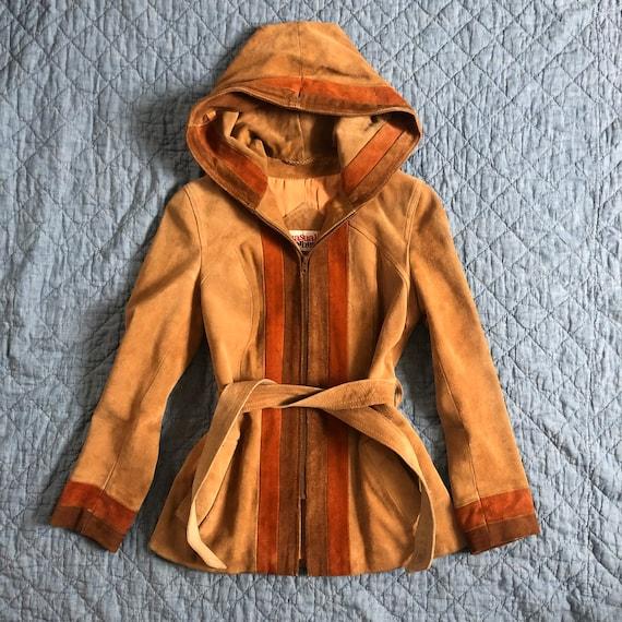 70's Vintage Suede Hooded Jacket