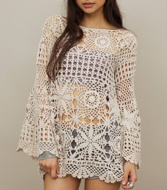 Off White Crochet Tunic Crochet Blouse Crochet Tunic Etsy