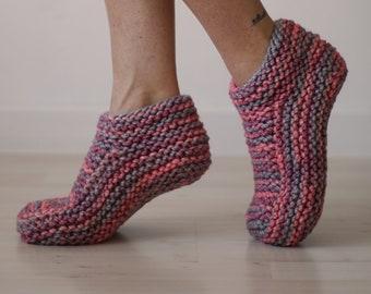 Pink Slipper Socks, Knitted Slippers for Women, Low Cut Slipper Socks, Warm Slippers, Women Slippers, Knit Socks, Gift For Her, Mother Gift