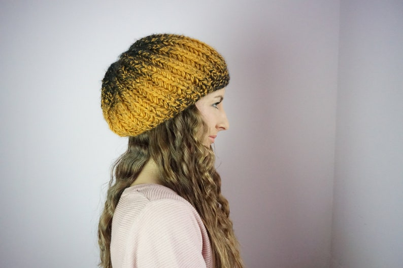d3be5876a57 Mustard Hat Chunky Knit Hat Slouchy Beanie Yellow Tam Hat