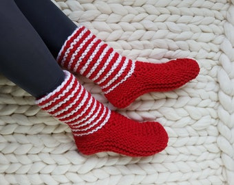 Knitted Slipper Socks, Handknit Red Boots, Red Gift, Boot Slippers, Red Knit Slippers, Indoor Shoes, Womens Slippers, House Slippers, Gift