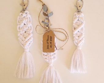 Wedding Favors, Personalized Wedding Gifts For Guests, Macrame Keychains, Boho Wedding Guest Gifts, White Wedding Favors For Guests In Bulk