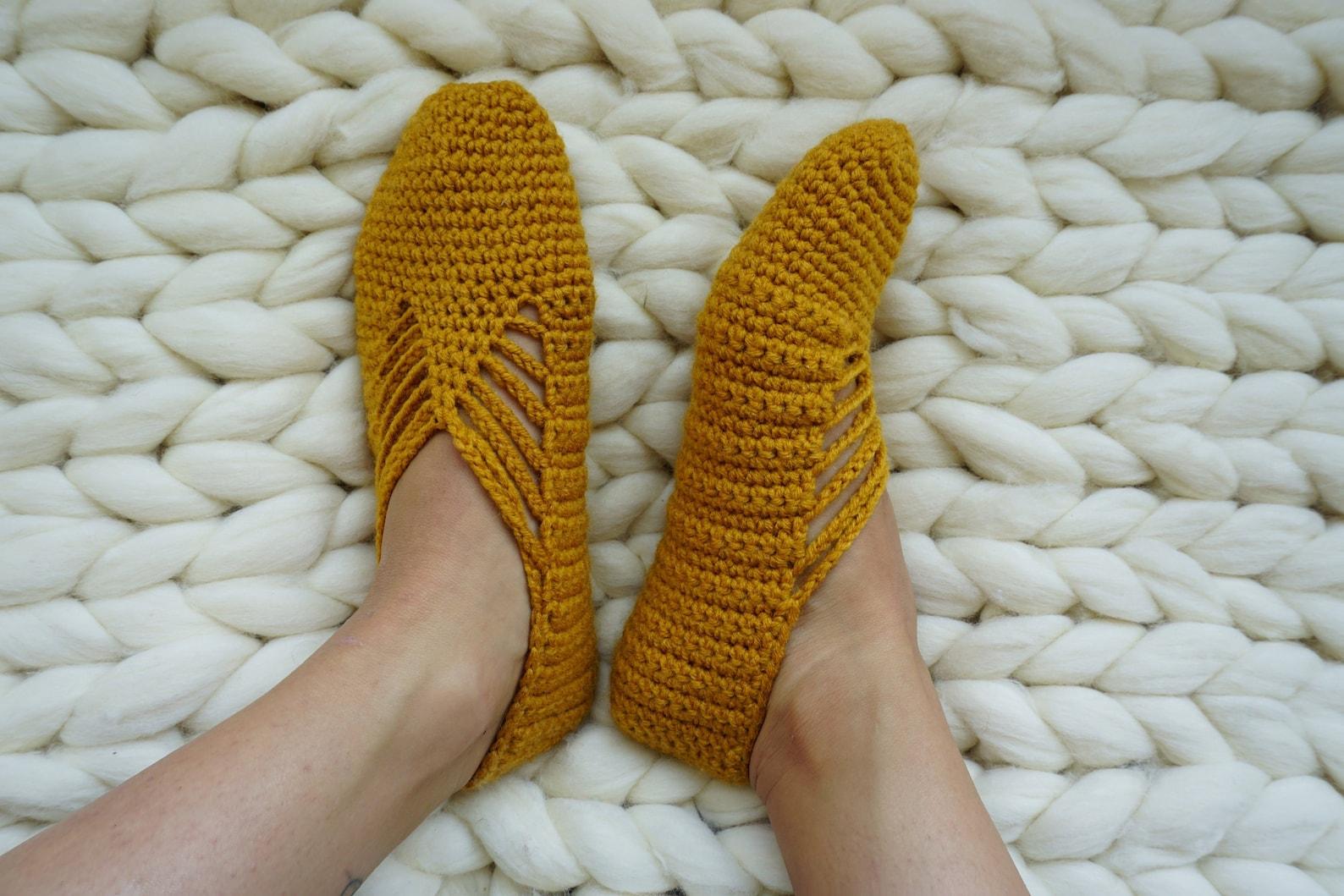 crochet slippers, mustard slipper socks, yellow slipper socks, womens socks, ballet shoes, gift for her, ballet slippers, women&