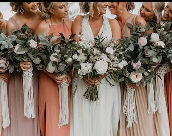 Wedding Bouquet Wrap, Bridesmaids Flower Wraps, Elopement Wedding Flowers Wrap, Macrame Bouquet Wrap, Boho Wedding, Bride To Be Gift