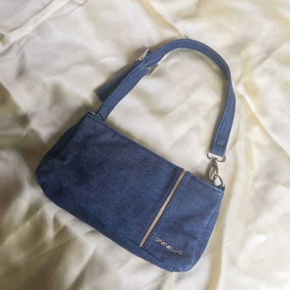 Denim baguette bag