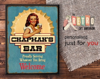 Personalised Bar Sign, Welcome Bar plaque, retro style, custom bar sign, home bar decor, Beer Sign, Bar Sign for Home Bar