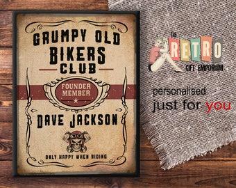 Grumpy Bikers, Personalised Gift,  Metal Wall Plaque, Sign, Biker Birthday, retro motorcycles, vintage bike decor, Man cave Stuff