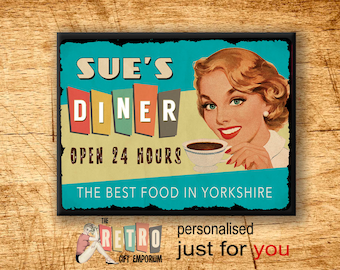 50s Retro Diner, custom wall sign, Personalised Gift,  Metal Wall Sign, Retro Style, Kitchen Sign, 1950s diner, Retro Kitchen Decor