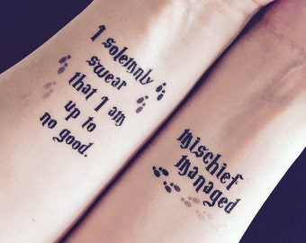 """Harry Potter """"I Solemnly Swear"""" and """"Mischief Managed"""" temporary tattoos"""