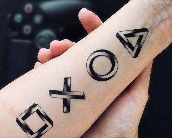 Symbole Playstation Niemożliwe Geometrii Tymczasowy Tatuaż