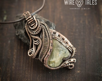 Wire wrapped jewelry Unique gift for women or men Raw Crystal necklace Hippie jewelry Protection Amulet Boho necklace Citrine Pendant