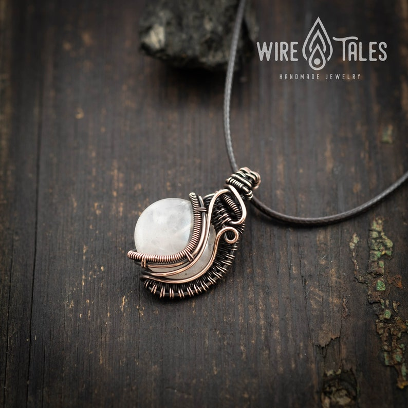 Wire wrapped Rose Quartz copper necklace tribal necklace,Handmade Jewelry Crystal Yoga protection necklace,Healing crystal Stone necklace