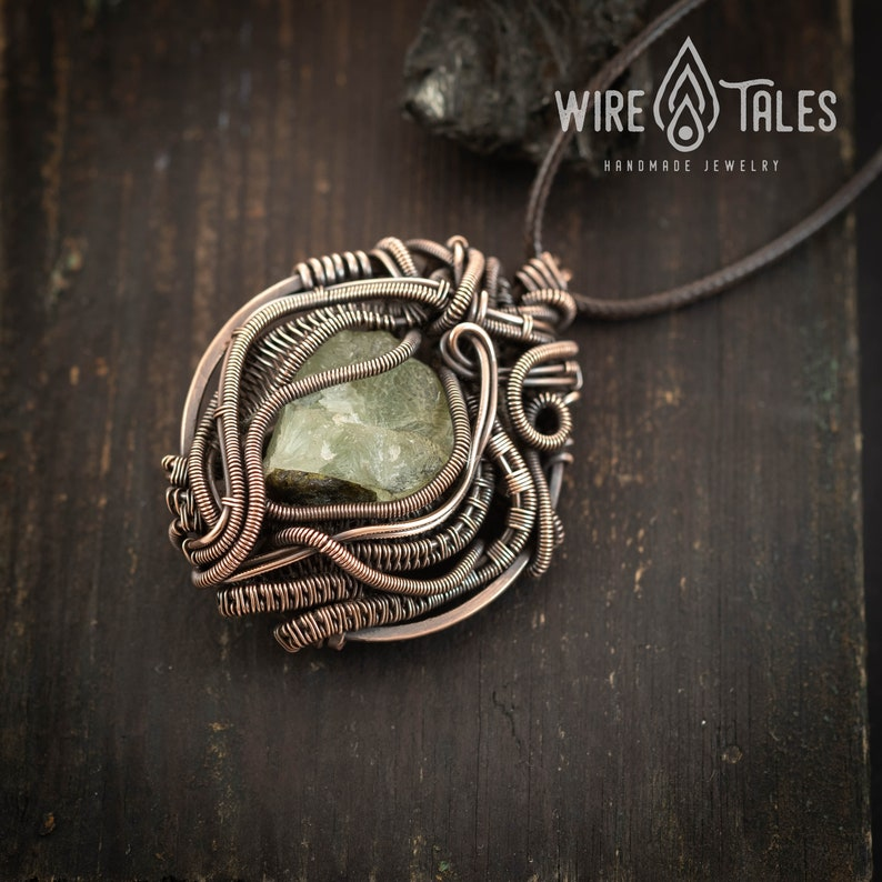 Raw Stone Prehnite Anxiety relief protection amulet Cyber Monday Unique gifts Black Friday Wire wrapped Pendant Copper Crystal necklace