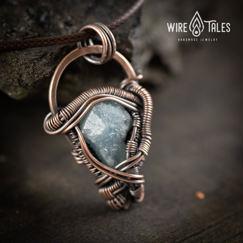 Handmade jewelry Wire wrapped Yoga jewelry Mindfulness gift for her Anxiety Relief Raw Aquamarine Crystal Protection amulet Necklace