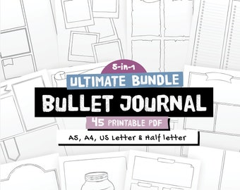 Bullet journal templates, Ultimate bundle, printable bujo pages, dotted grid and blank background, A5, A4, Us Letter and Half size