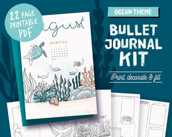 Printable bullet journal, coloring ocean theme, undated planner page bundle, hand drawn style planner templates, A4, A5, Letter,half size
