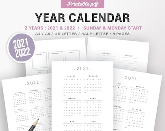 2021 2022 Yearly calendar, printable planner insert, dated agenda, yearly notes, sunday and monday start, year at a glance, year overview
