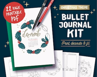 Printable bullet journal, christmas theme, undated planner page bundle, hand drawn style planner templates, A4, A5, Letter...