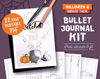 Printable bullet journal, halloween & sorcery theme, undated planner page bundle, hand drawn style planner templates, A4, A5, Letter...