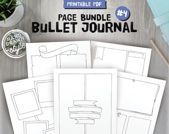 Bullet journal templates, printable bujo pages, dotted grid and blank versions included, hand drawn style, A5, A4, Us Letter and Half size