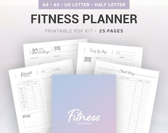FITNESS PLANNER / Printable / fitness goals, food diary, fitness challenge, monthly and weekly follow-up, measurements tracker, sport...