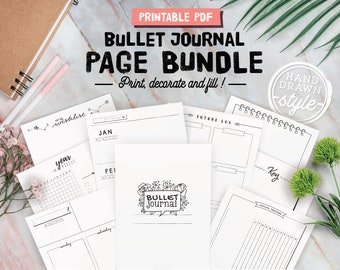 Printable bullet journal inserts, Undated bujo page bundle, weekly planners, monthly calendars, key, goals...  A4, A5, Letter and half size