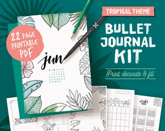 Printable bullet journal, coloring tropical theme, undated planner page bundle, hand drawn style planner templates, A4, A5, Letter,half size