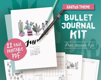 Printable bullet journal, coloring cactus theme, undated planner page bundle, hand drawn style planner templates, A4, A5, Letter,half size