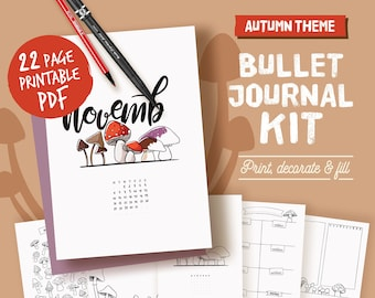 Printable bullet journal, coloring autumn theme, undated planner page bundle, hand drawn style planner templates, A4, A5, Letter,half size