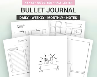 BULLET JOURNAL - Printable - Undated - Monthly calendar, weekly and daily planner, notes pages, to do list... A5, A4, Us Letter, Half size