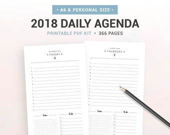 2018 DAILY AGENDA, 2018 daily planner, Printable planner inserts, day on 1 page, DO1P, A6 & Personal size