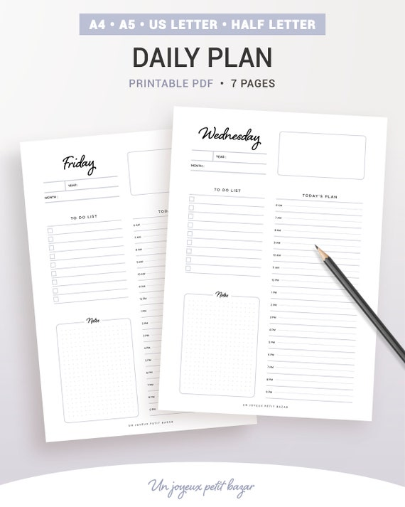daily plan undated daily planner daily diary printable etsy
