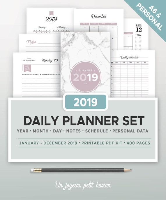 2019 DAILY PLANNER SET printable, yearly and monthly calendar, 2019 daily  agenda, notes, schedule, planner insert, filofax Personal and a6