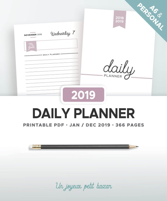 2019 DAILY PLANNER PRINTABLE, refill agenda organiser, pdf 2019 daily  diary, daily schedule, DO1P, filofax inserts Personal & A6