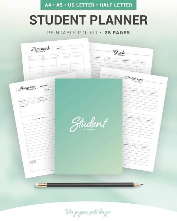 student planner printable homework planner school lesson etsy