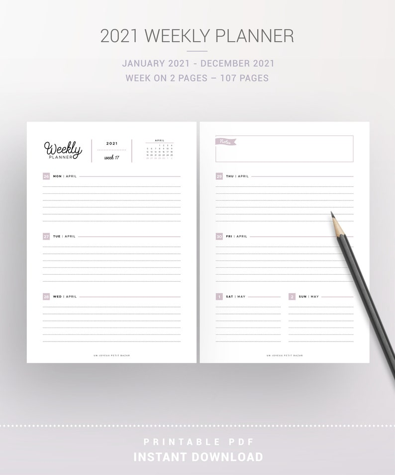 2021 WEEKLY PLANNER KIT printable yearly & monthly ...