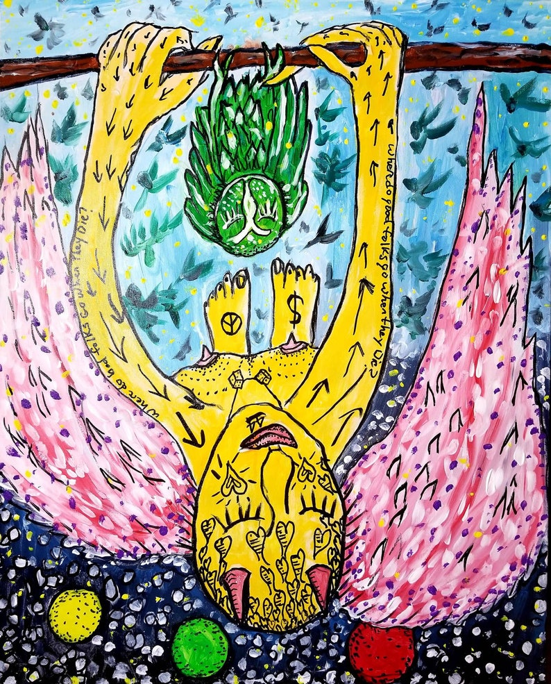 housewarming psychedelic art gift contemporary painting folk art gifts expressionist paintings I am the night....celestial paintings