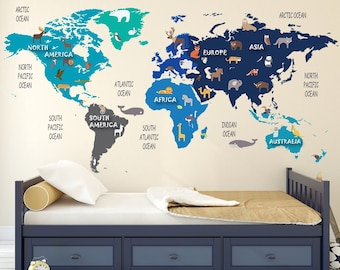 Nursery Animal World Map Decal   World Map Wildlife   Nursery Room Decor   Kids  Room Decals   Educational Wall Decals, Clear Vinyl Decal