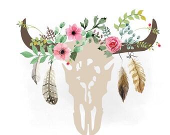 Cow Skull Svg Clipart Bull Skull Clipart Flowers Western