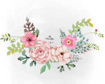 Spring Florals SVG clipart, watercolor flowers svg, Boho florals Clipart, decal, country, AI Svg Png Jpeg Cricut & Silhouette