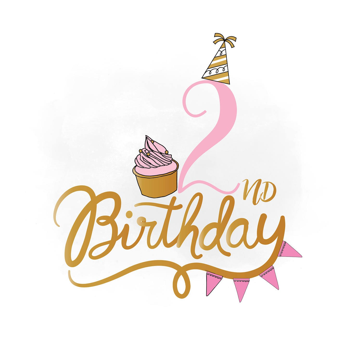 2nd Birthday SVG Clipart Baby Girl Birthday Quote Birthday