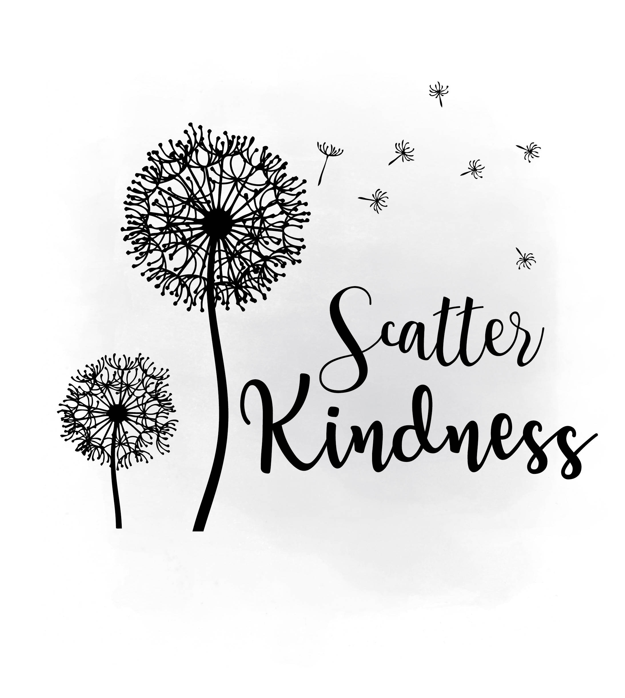 scatter kindness dandelion wish svg clipart  inspirational quote art seeds of kindness decal