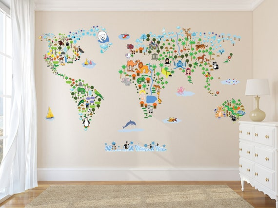 Wall Sticker World Map.Cultural World Map Wall Decal World Map Wildlife Nursery Etsy