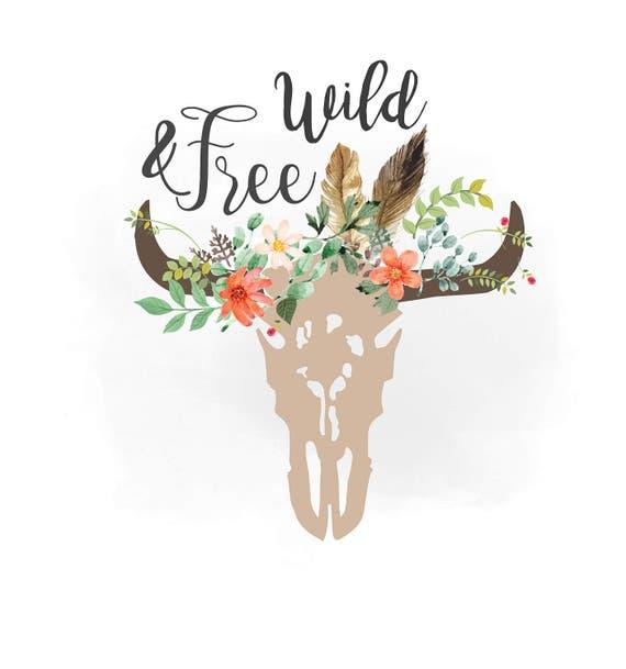 Salvaje y libre svg Imágenes Prediseñadas vaca floral de Boho | Etsy