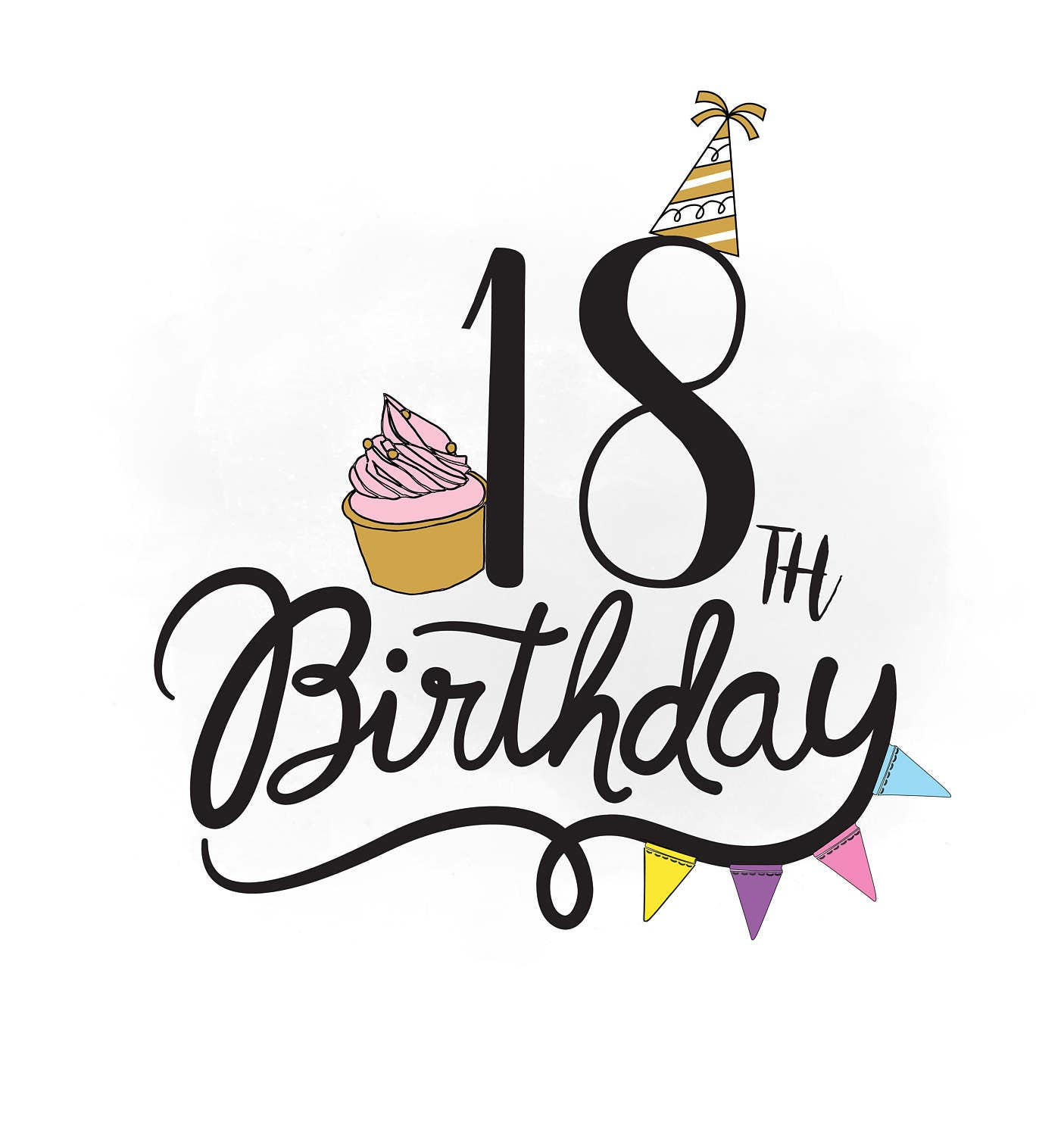 18th Birthday SVG Clipart Birthday Quote Cupcake Svg