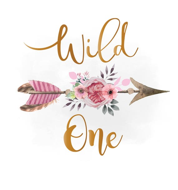 Wild one svg clipart pink floral arrow clipart boho etsy image 0 mightylinksfo