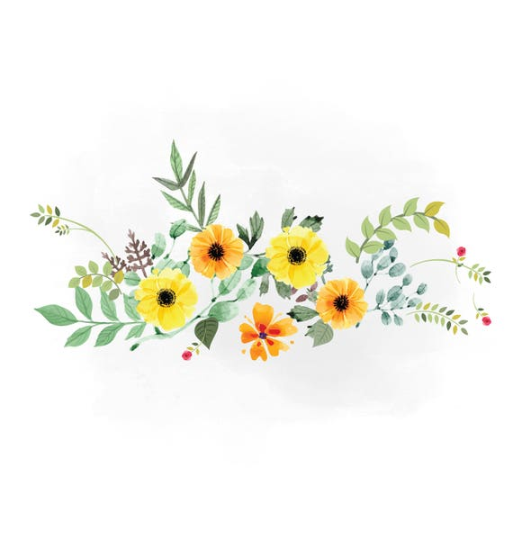 Spring Florals Svg Clipart Watercolor Flowers Svg Yellow Etsy